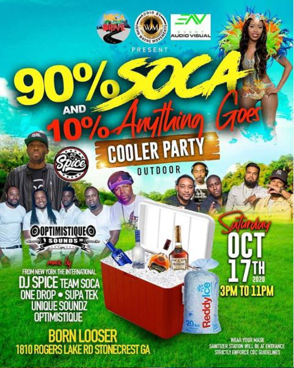 90% Soca 10% Anything Goes Cooler Party flyer or graphic.