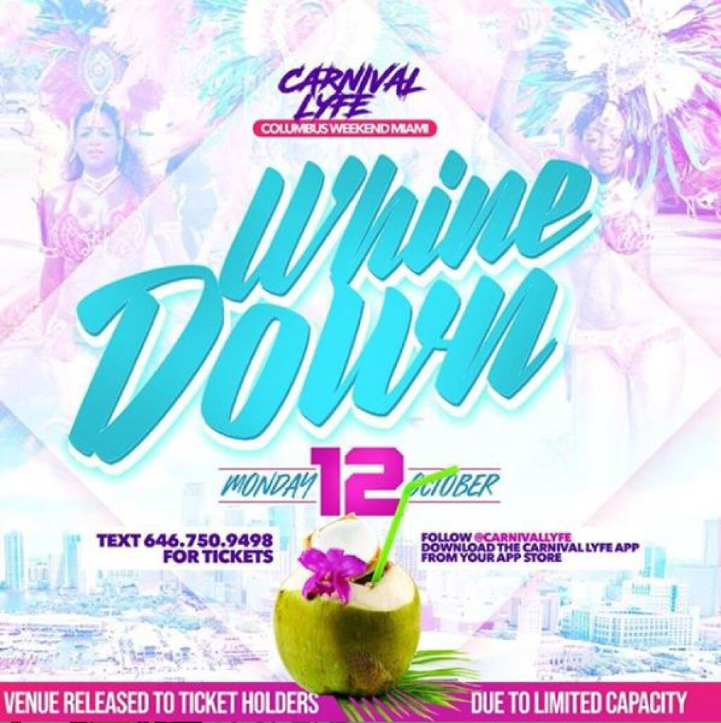 Carnival Whine Down Fete flyer or graphic.
