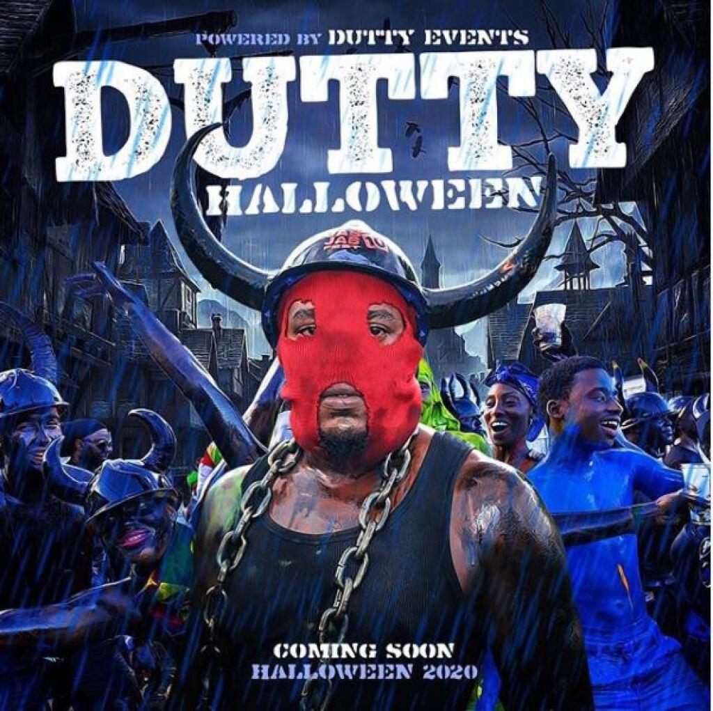 Dutty Halloween flyer or graphic.