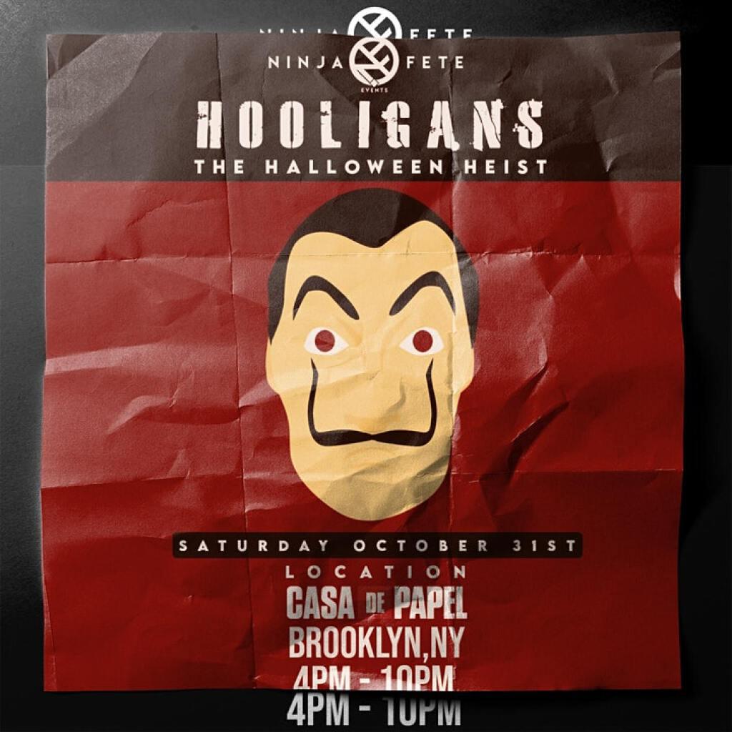 "Hooligans ""The Heist"" flyer or graphic."