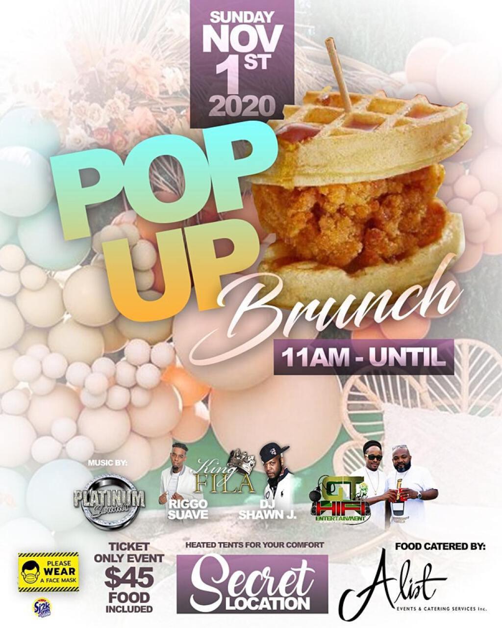 Pop Up Brunch flyer or graphic.