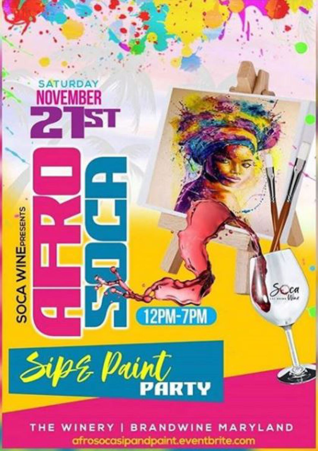 Afro Soca Sip & Paint flyer or graphic.