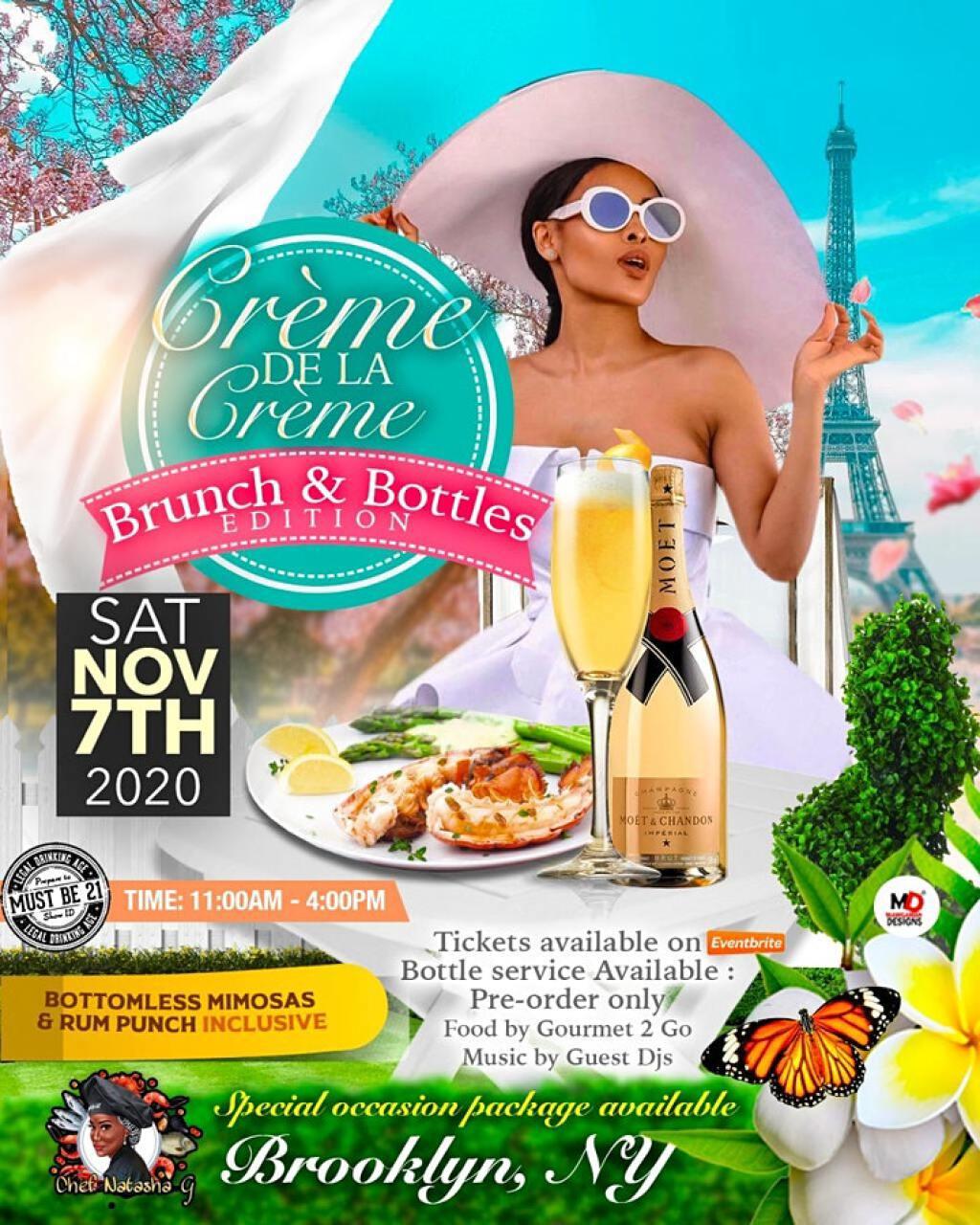 Crème De La Crème  Brunch & Bottles Edition flyer or graphic.