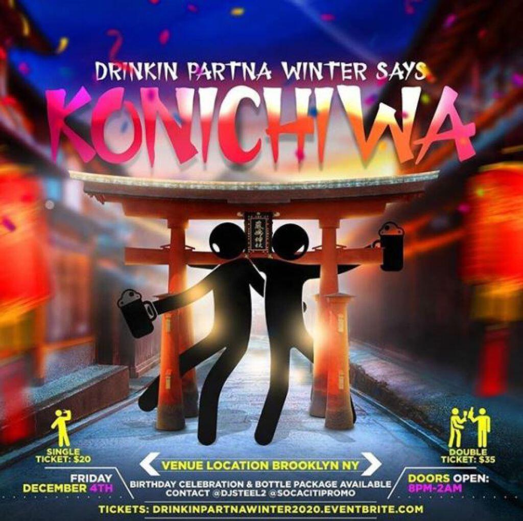 Kon'nichiwa flyer or graphic.