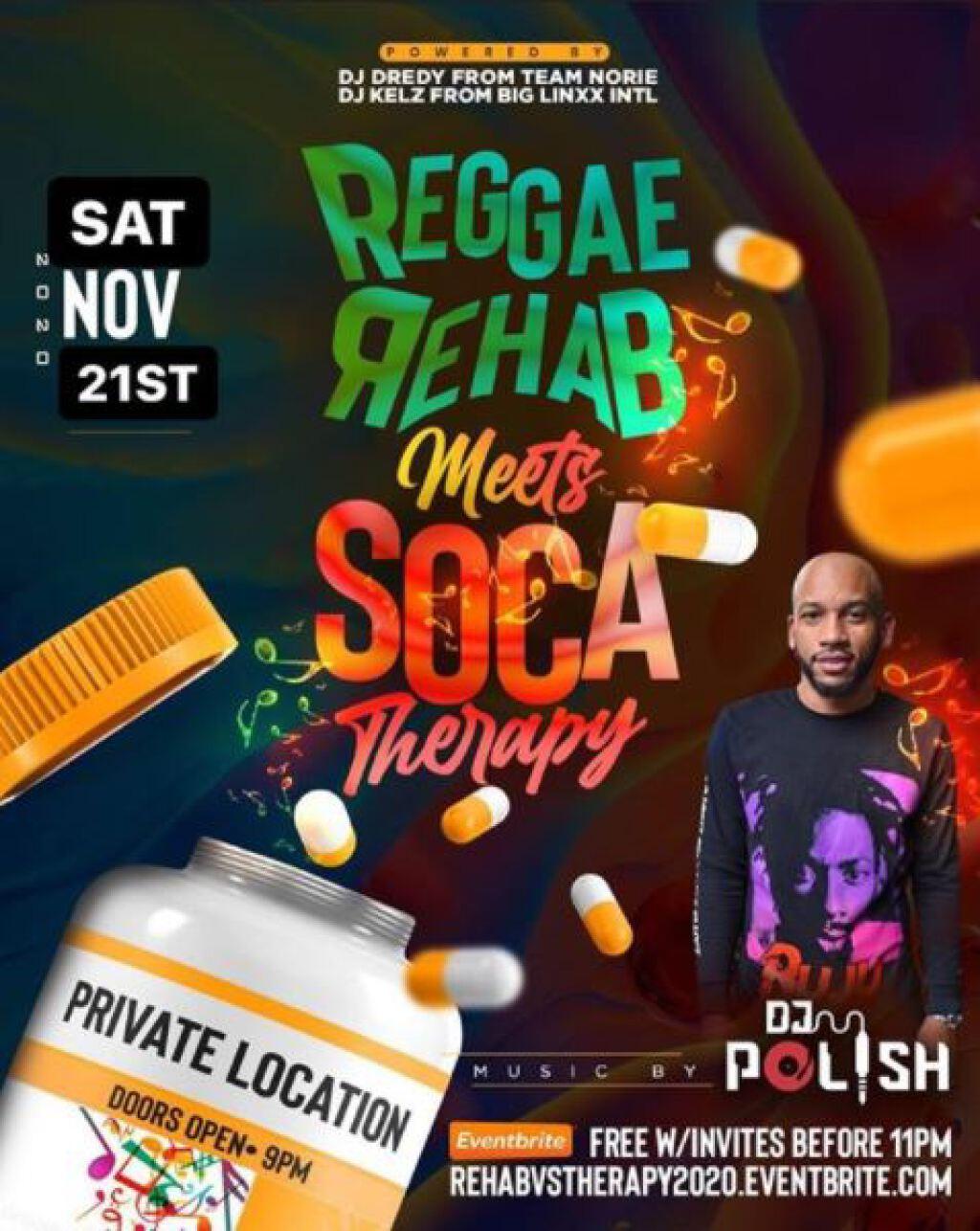 Reggae Rehab Vs Soca Therapy flyer or graphic.