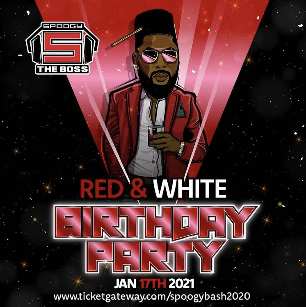 Spoogy Red & White Birthday Bash flyer or graphic.