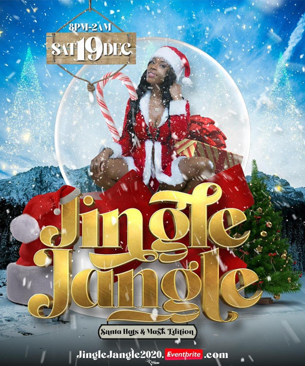 "Jingle Jangle ""Santa Hat & Mask Edition. flyer or graphic."