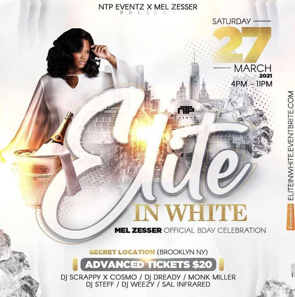 Elite In White flyer or graphic.
