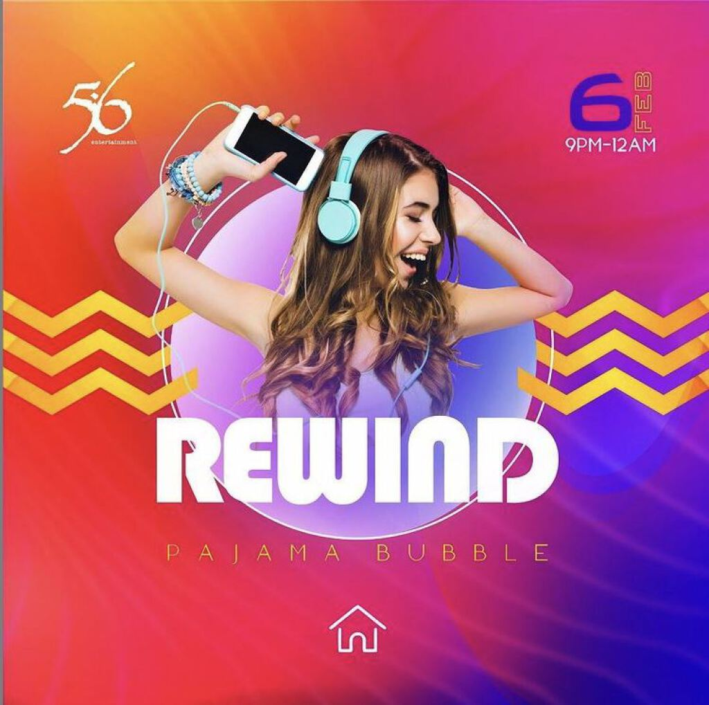 Rewind Pajama Bubble flyer or graphic.