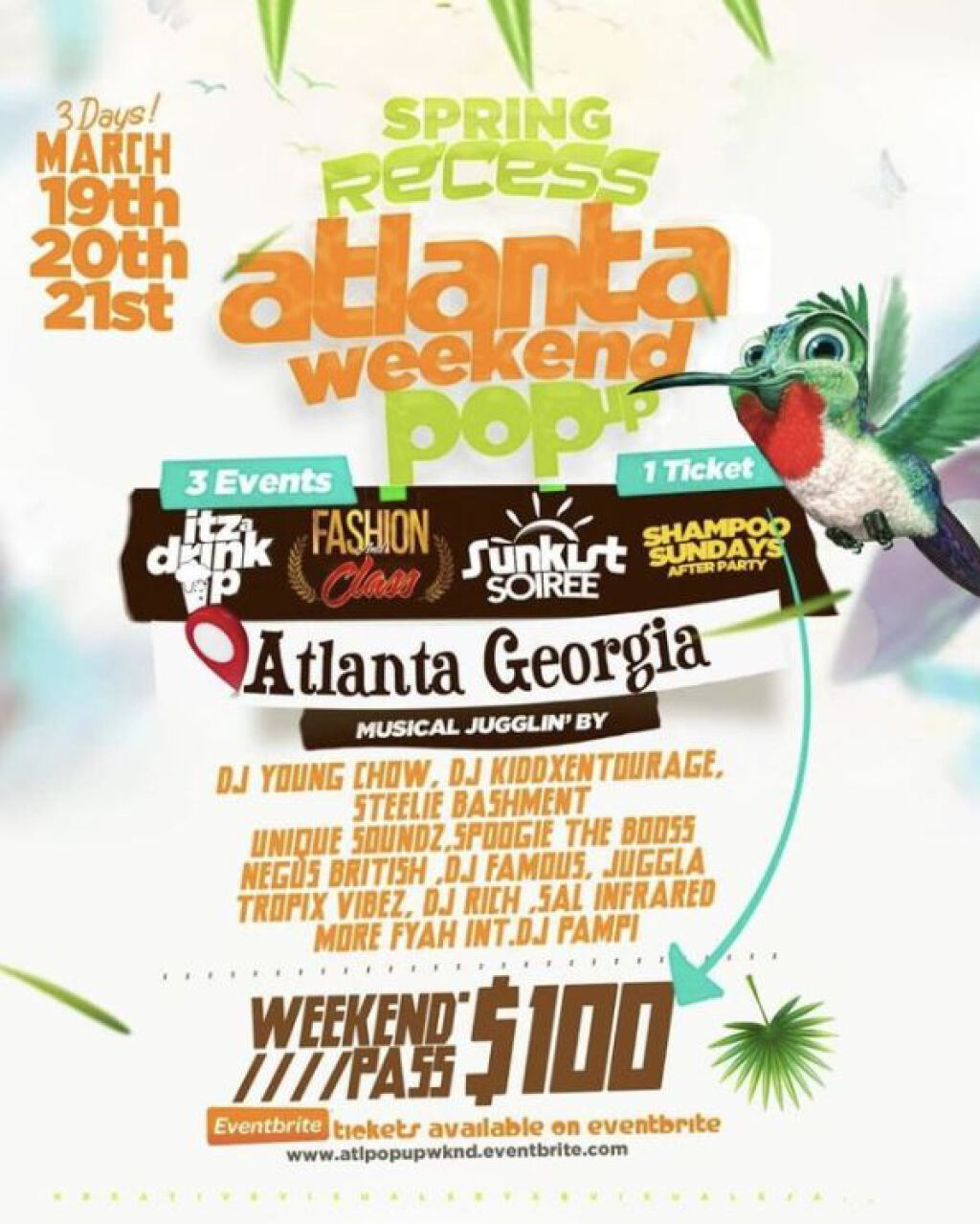 Spring Recess Atlanta Pop up Weekend- Day 3 flyer or graphic.