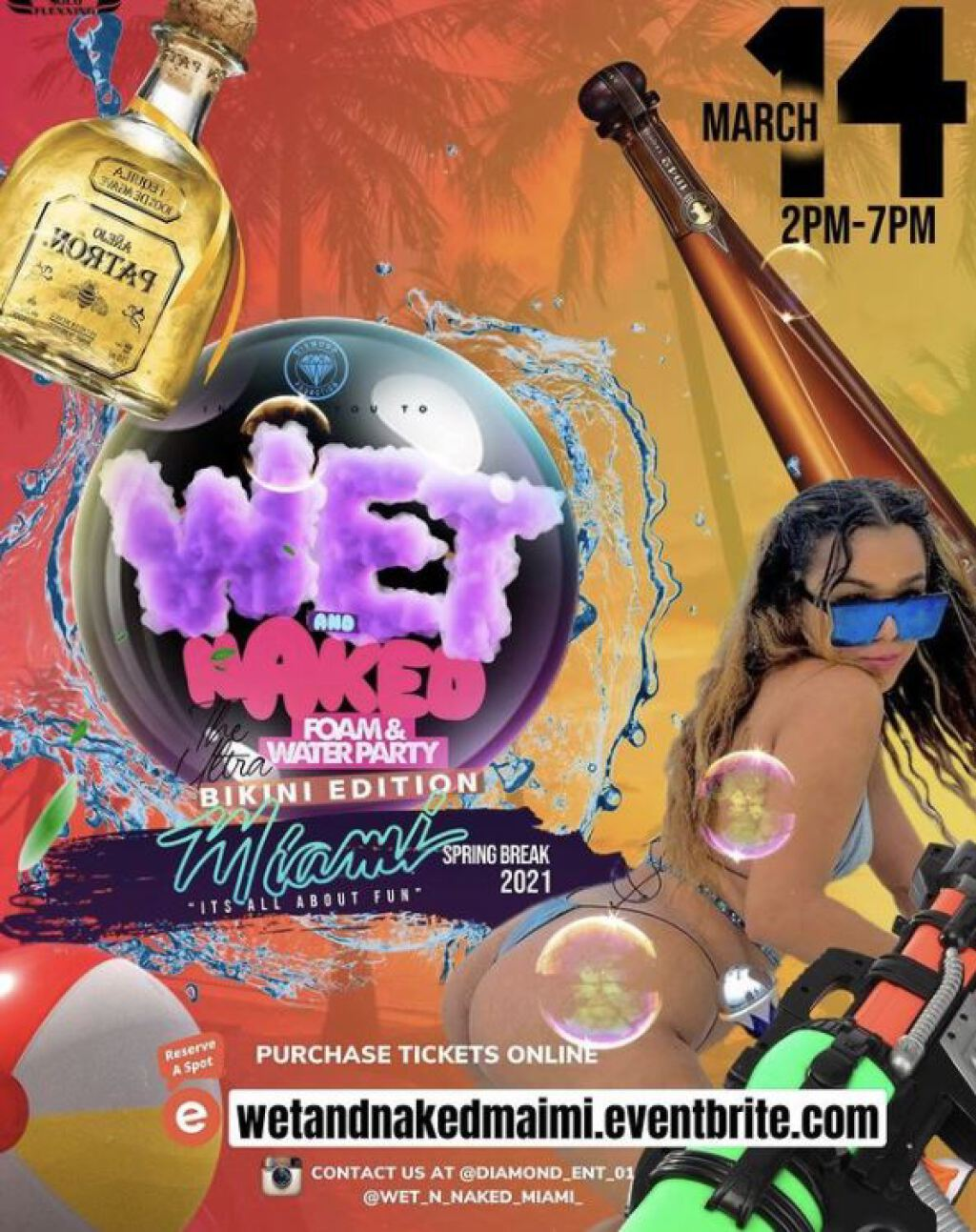 Wet & Naked Water & Foam Party flyer or graphic.