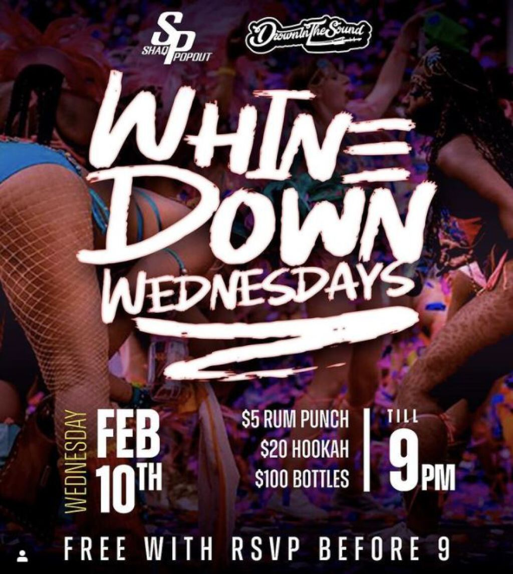 Whine Down Wednesday flyer or graphic.