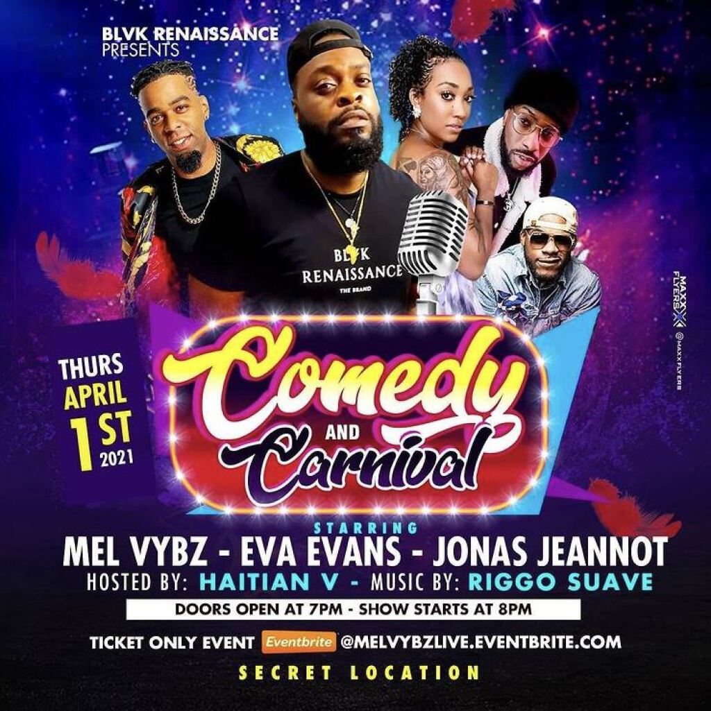 Comedy & Carnival flyer or graphic.