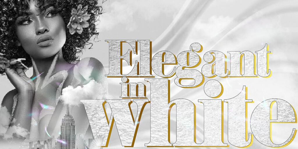Elegant In White flyer or graphic.