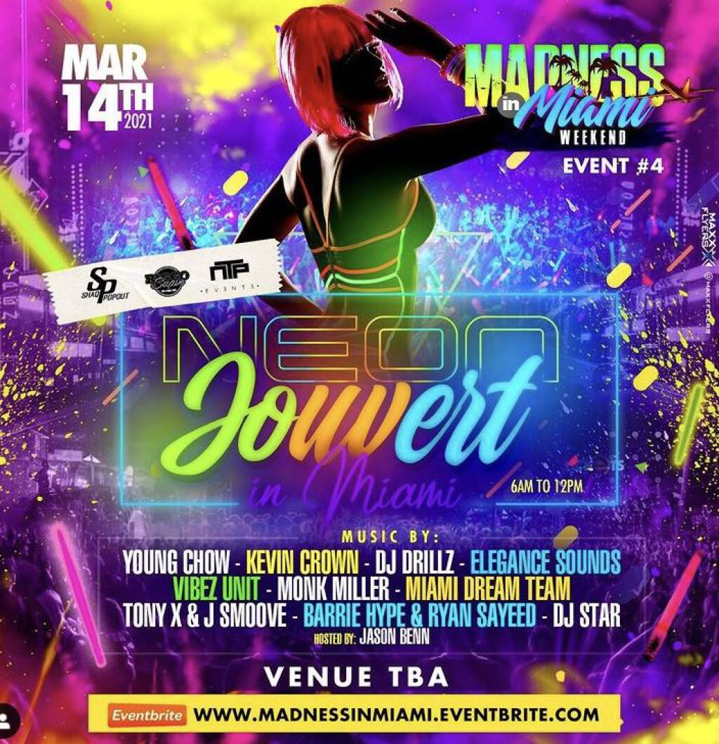 Madness in Miami- Jouvert In Miami flyer or graphic.