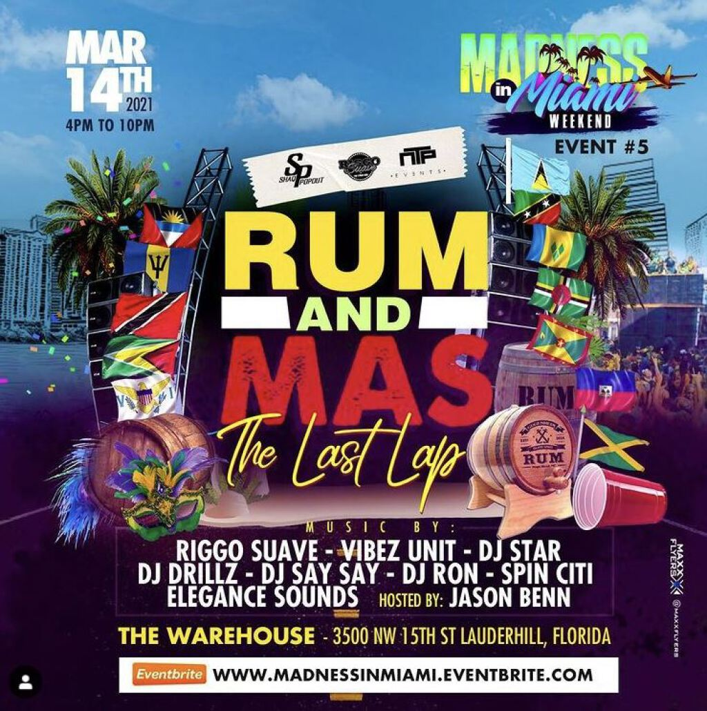 Madness in Miami- Rum & Mas flyer or graphic.