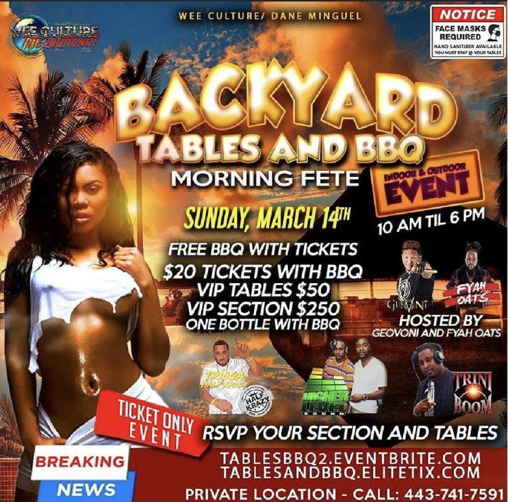 Tables and BBQ Day Fete flyer or graphic.