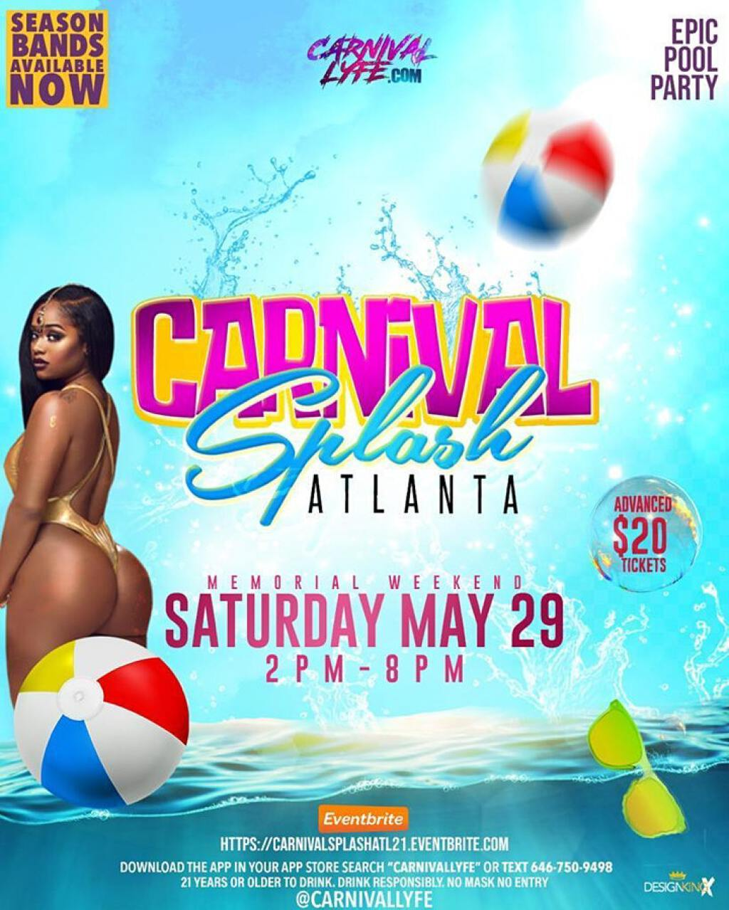Carnival Splash Pool Party flyer or graphic.