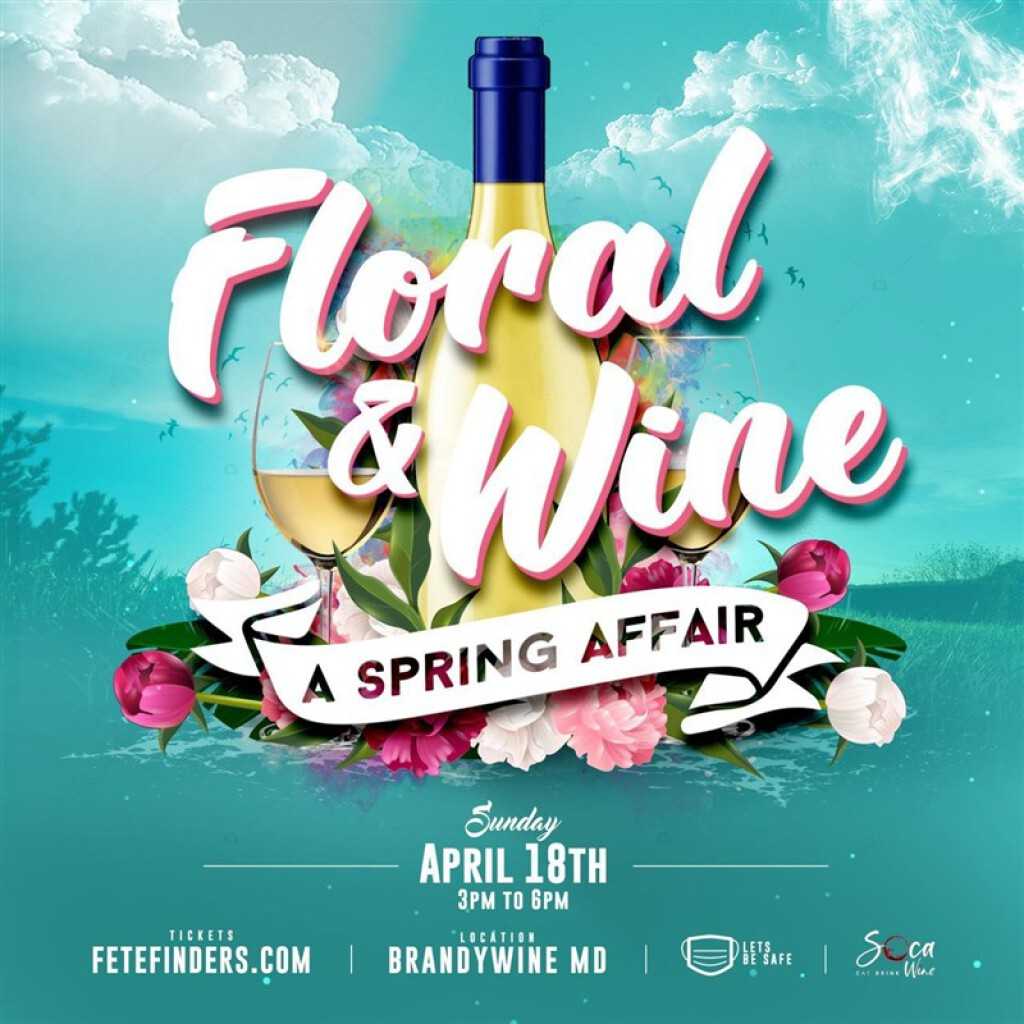 Floral & Wine flyer or graphic.