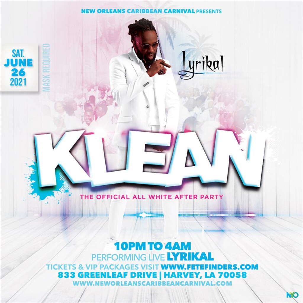 Klean - The Official All White After-Party flyer or graphic.