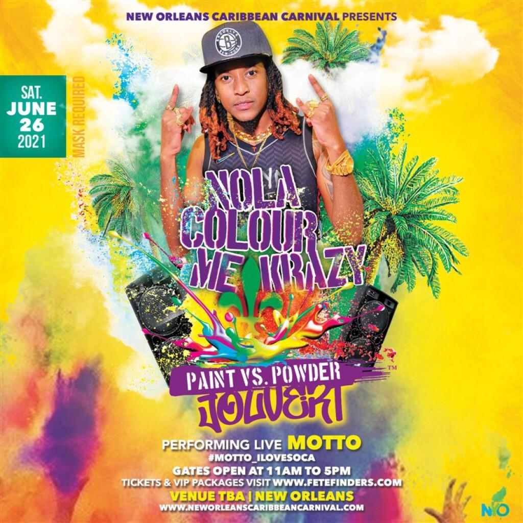 NOLA Colour Me Krazy - Paint VS. Powder Jouvert flyer or graphic.