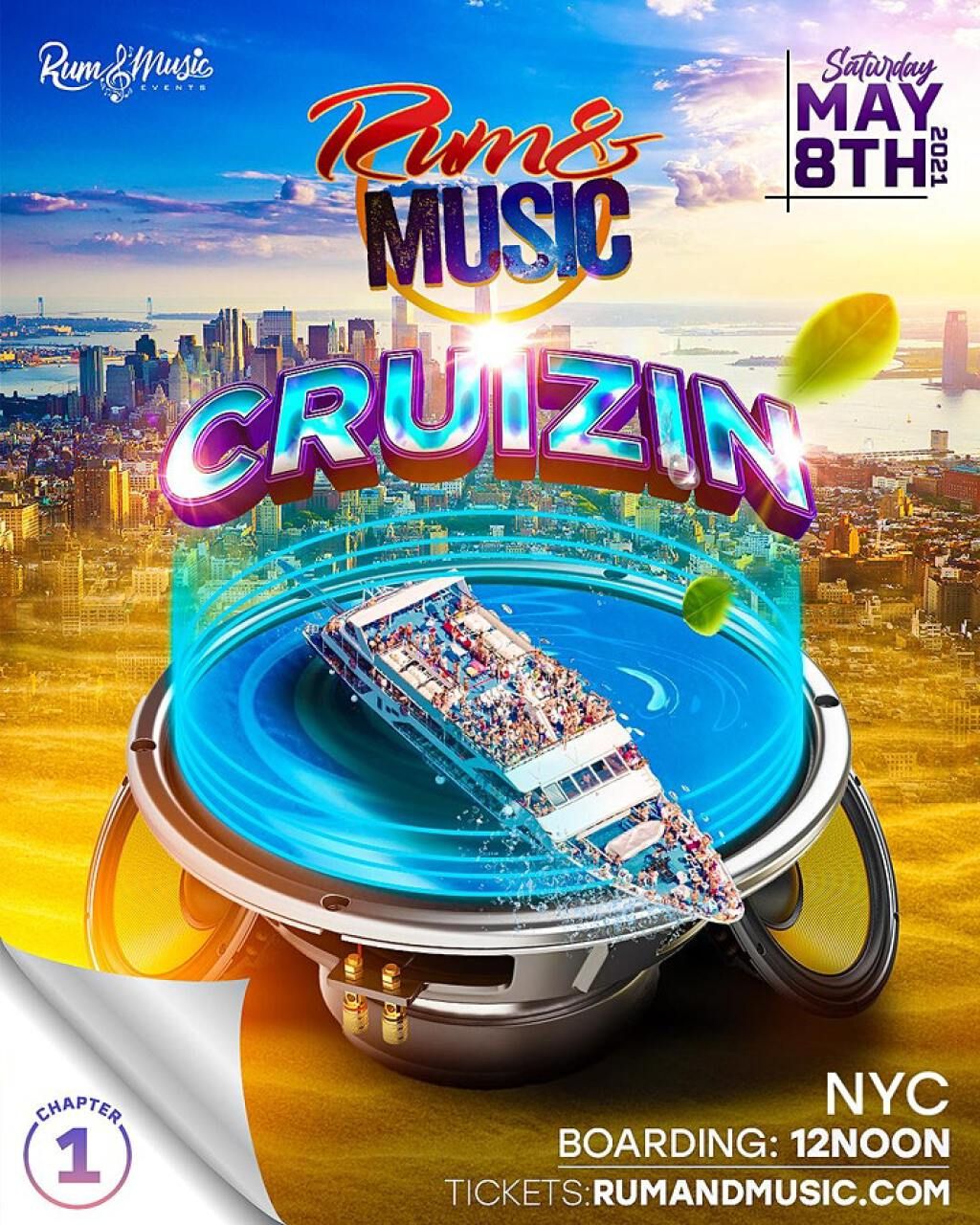 """Rum and Music """"CRUIZIN"""" flyer or graphic."""