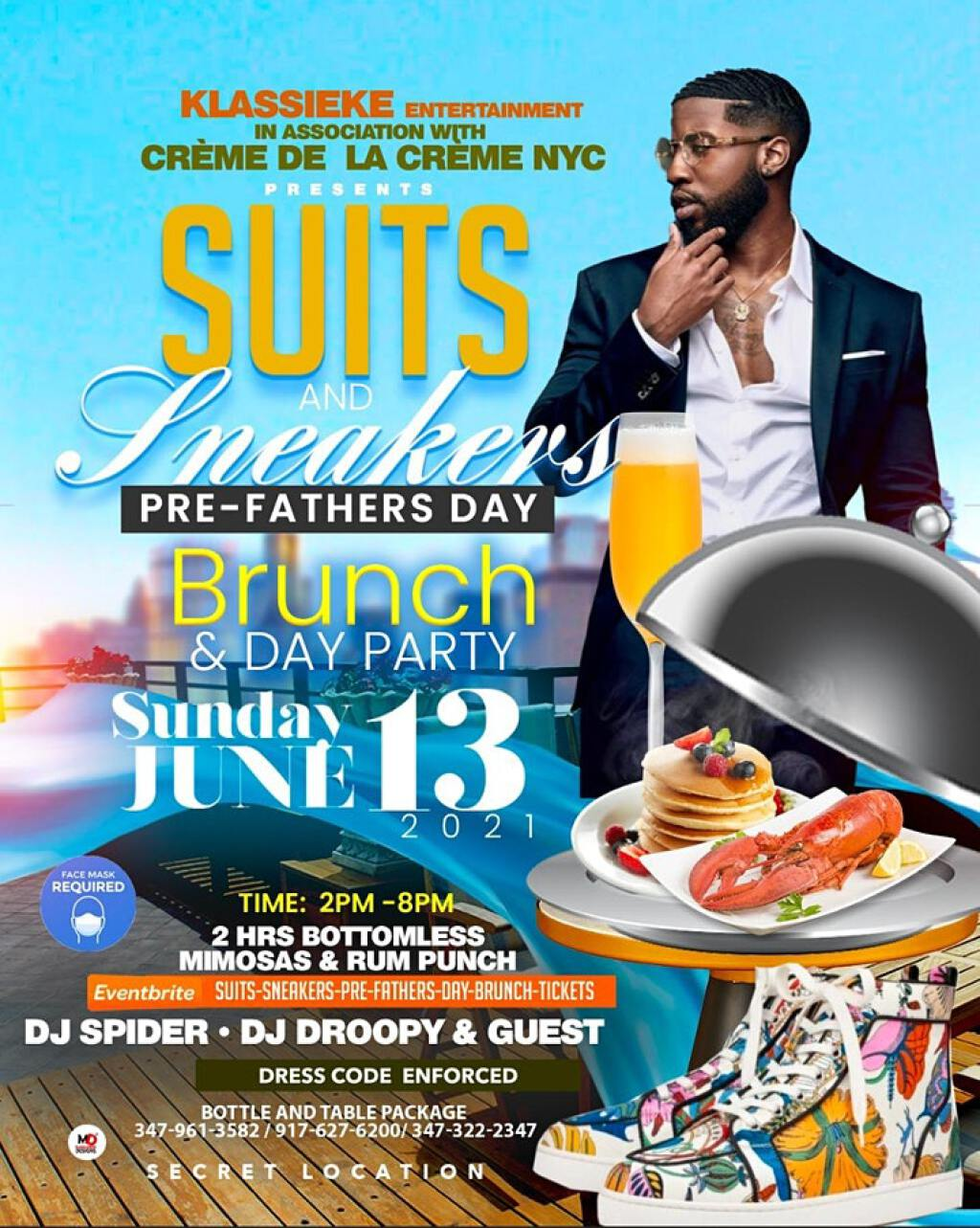 Suits & Sneakers Pre Fathers Day Brunch flyer or graphic.