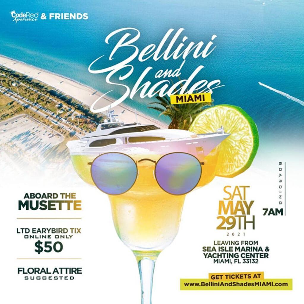 Bellini & Shades Miami flyer or graphic.
