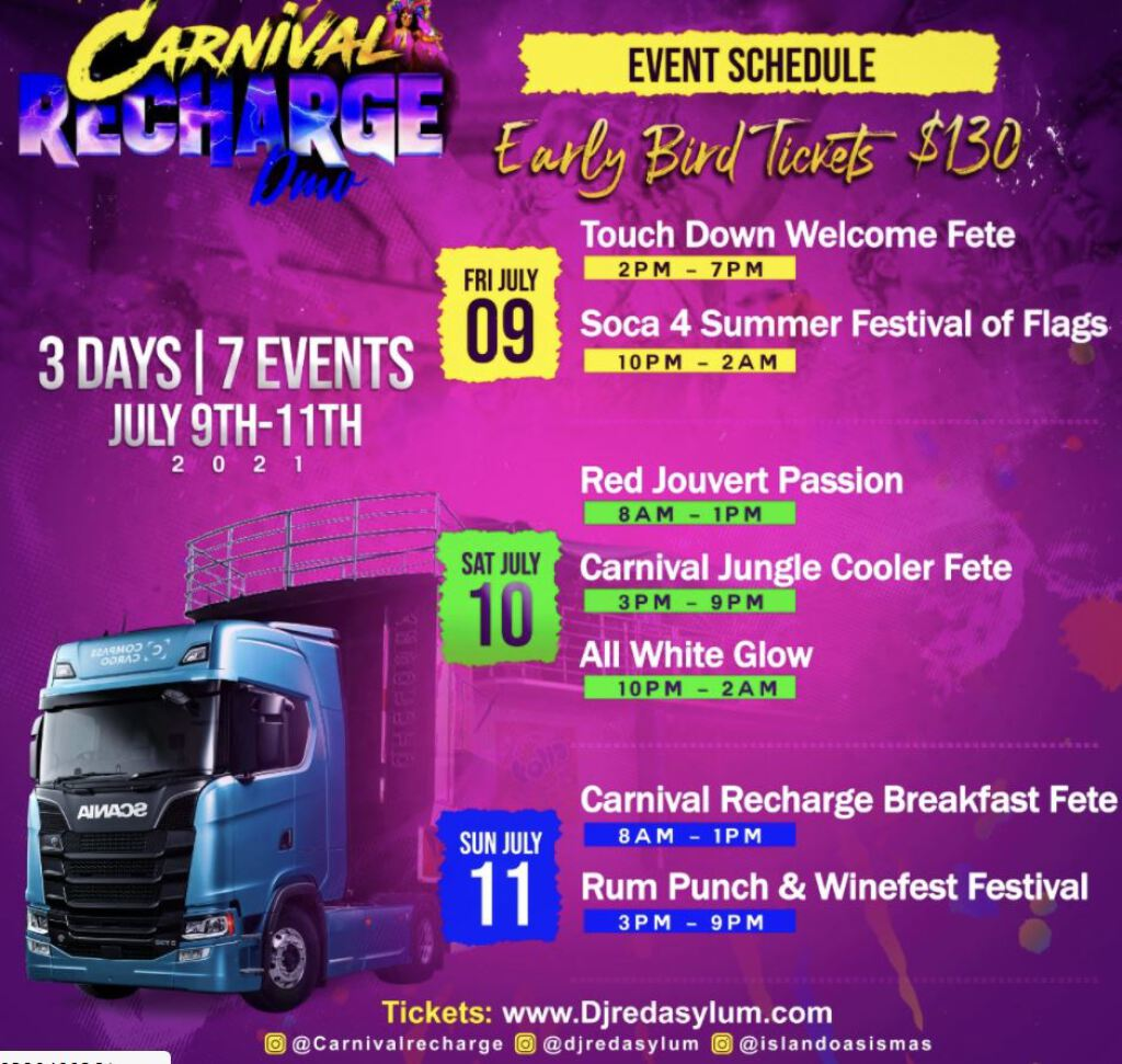 Carnival Recharge Weekend Pass flyer or graphic.