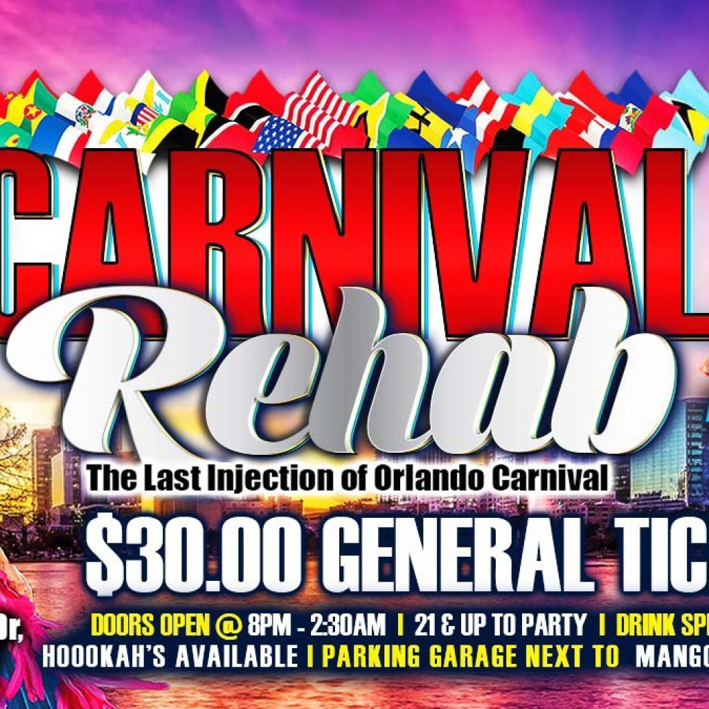 Carnival Rehab flyer or graphic.