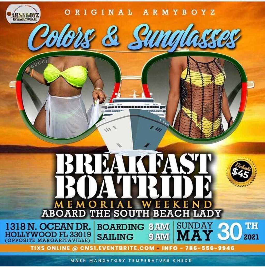 Colors & Sunglasses Breakfast Boatride flyer or graphic.