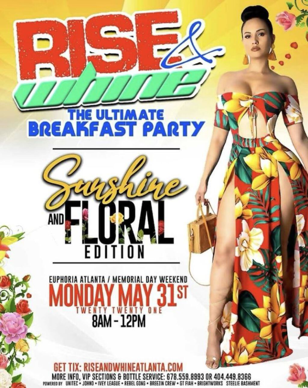 Rise & Whine Breakfast Party flyer or graphic.