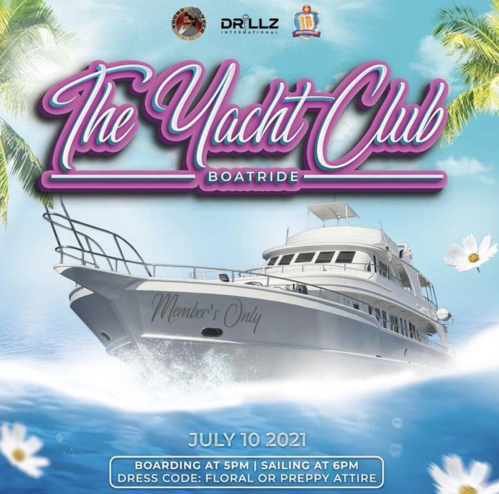 The Yacht Club Boatride flyer or graphic.