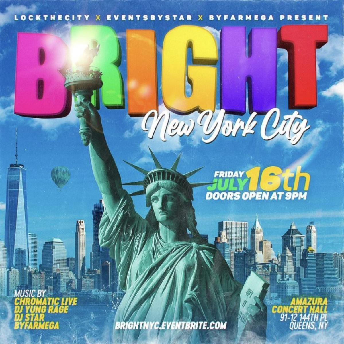 Bright NYC flyer or graphic.