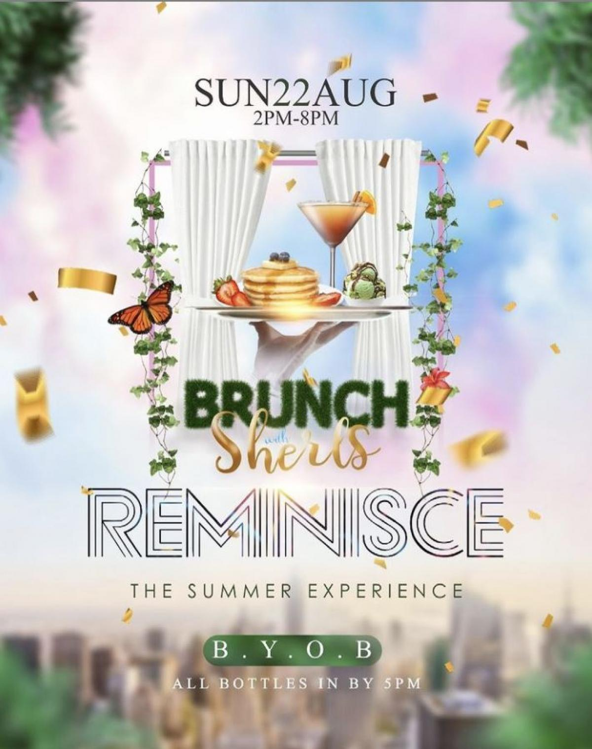 Brunch with Sherls: Reminisce flyer or graphic.