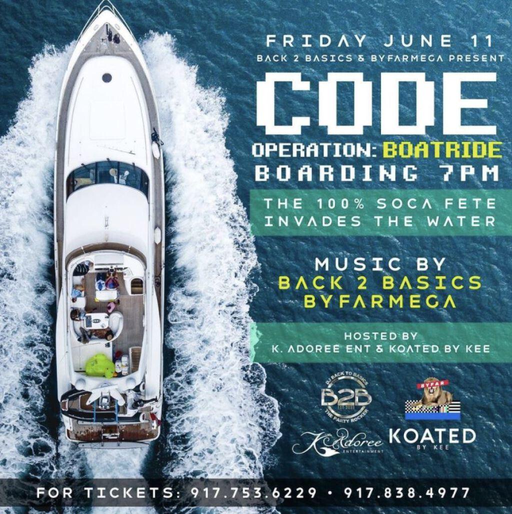 Code: Boatride flyer or graphic.