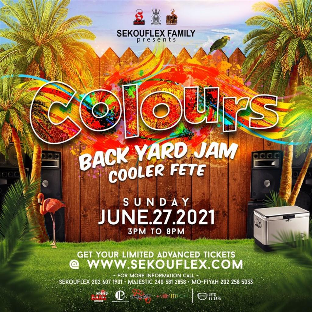 Colours Back Yard Jam Coolor Fete flyer or graphic.