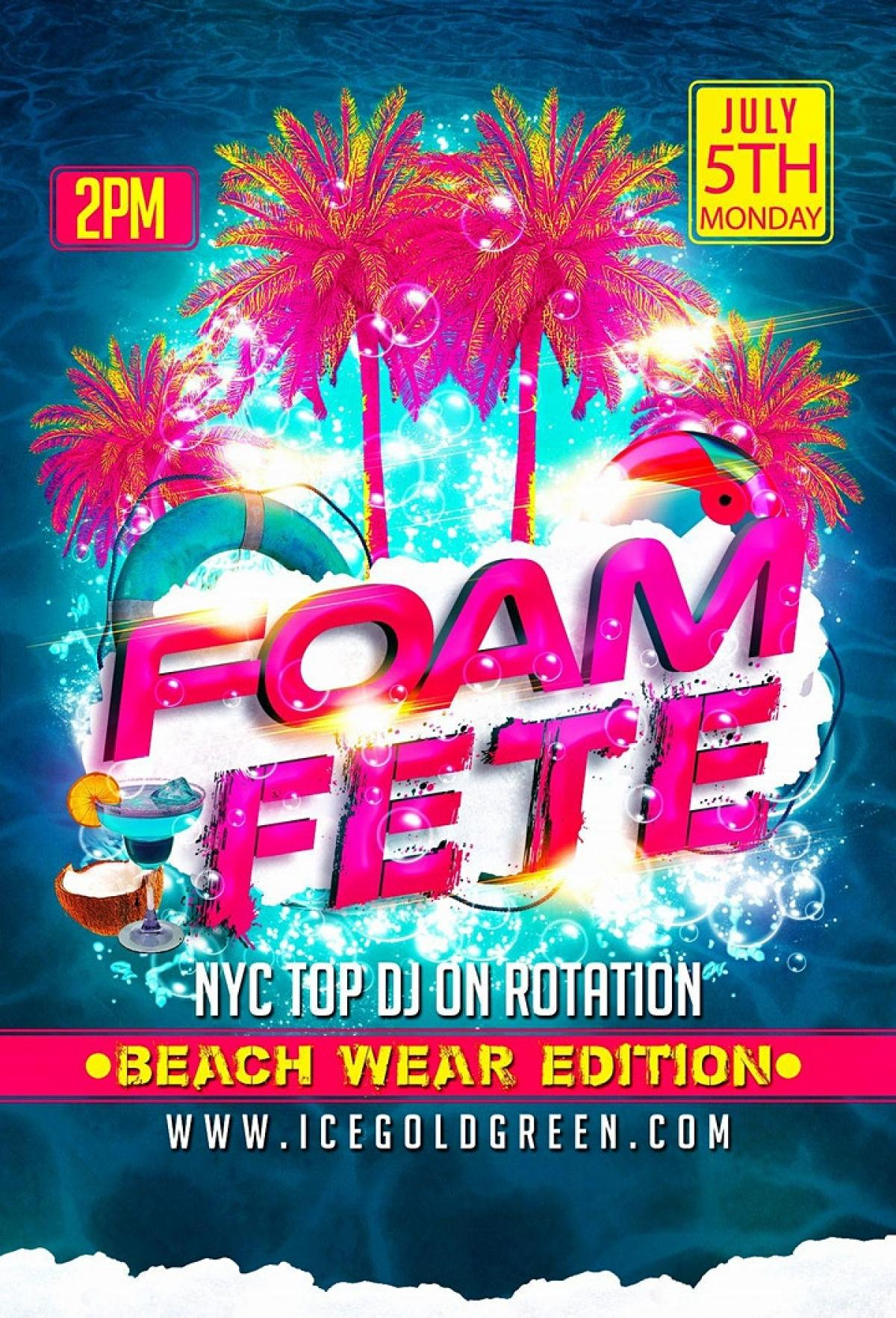 Foam Fete flyer or graphic.