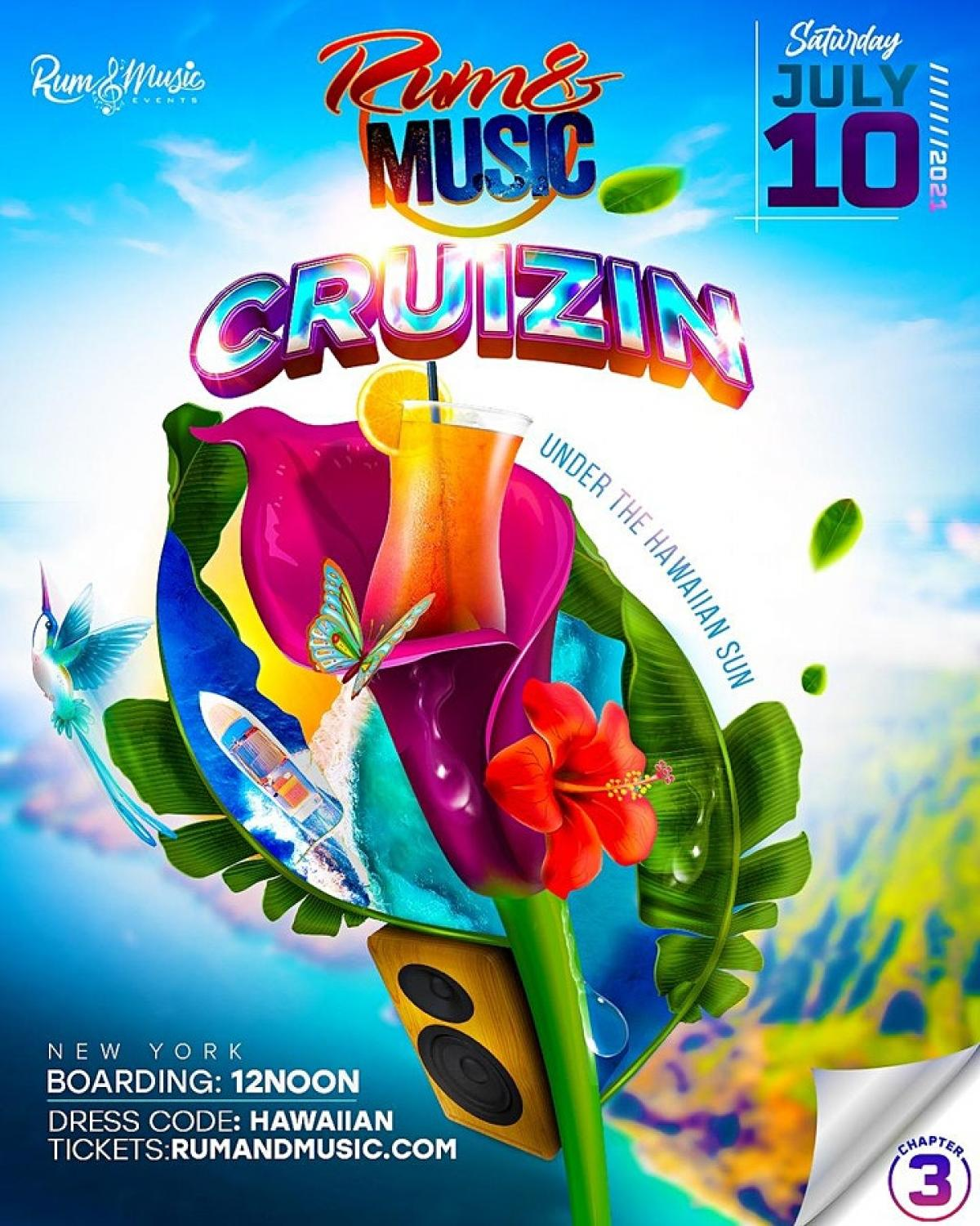 """Rum and Music """"Cruizin"""" Chapter 3: Under The Hawaiian Sun flyer or graphic."""