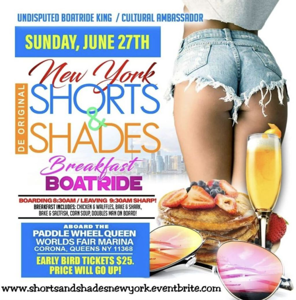 Shorts & Shades Breakfast Boatride NYC flyer or graphic.