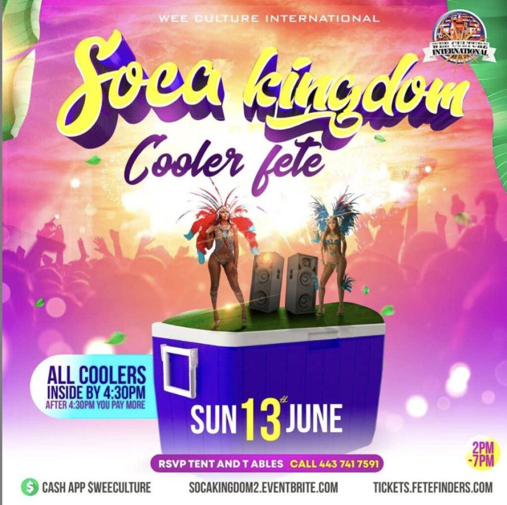 Soca Kingdom Cooler Fete flyer or graphic.