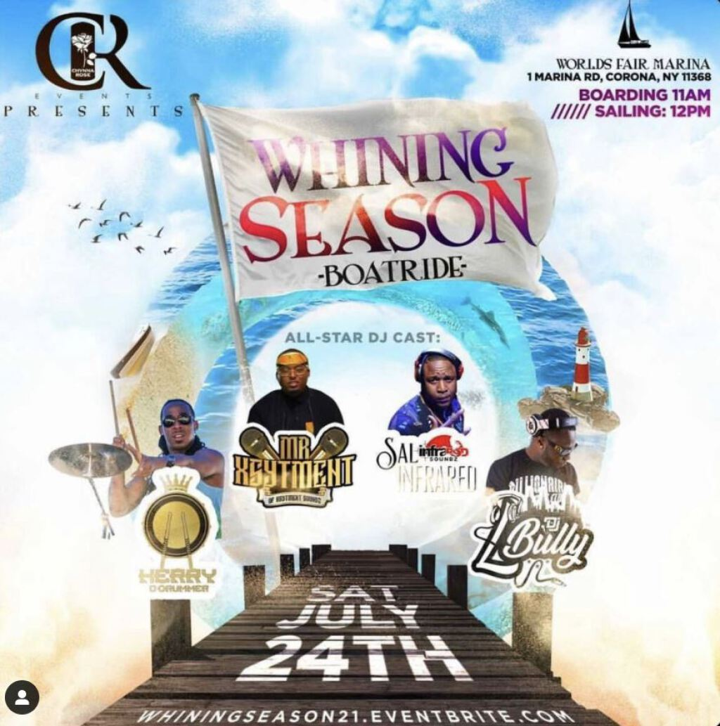 Whining Season flyer or graphic.