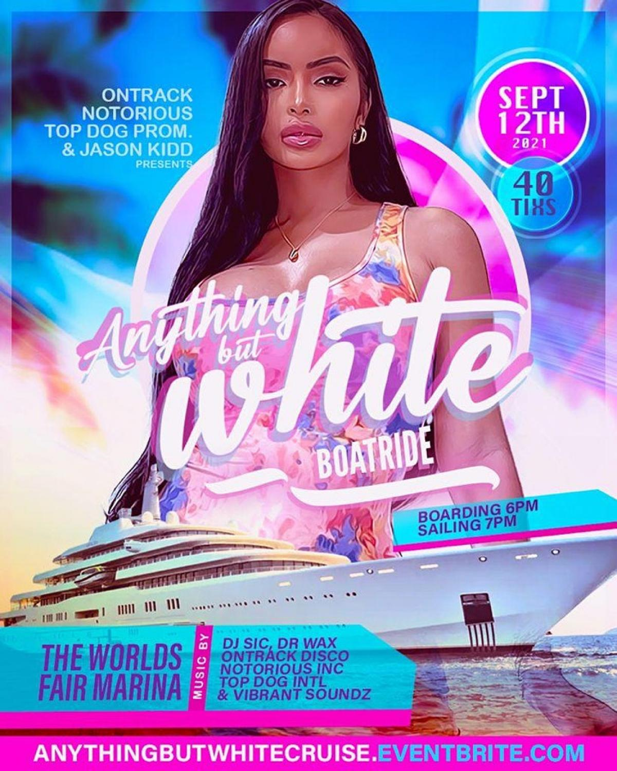 Anything But White Boat Ride flyer or graphic.