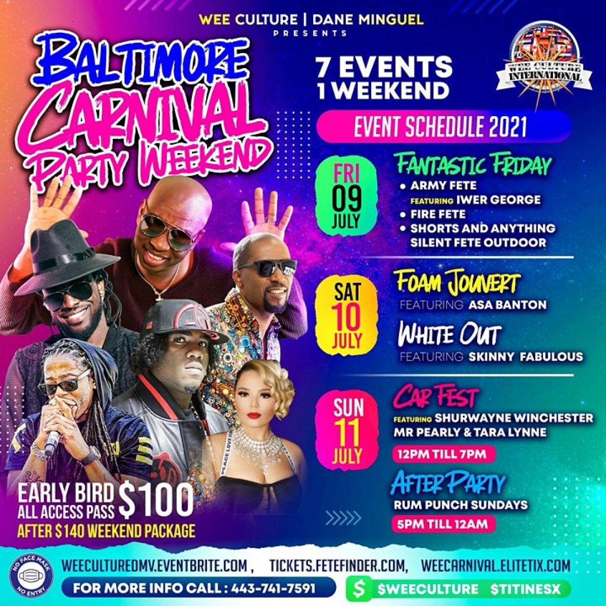 Baltimore Carnival Party Weekend Events flyer or graphic.