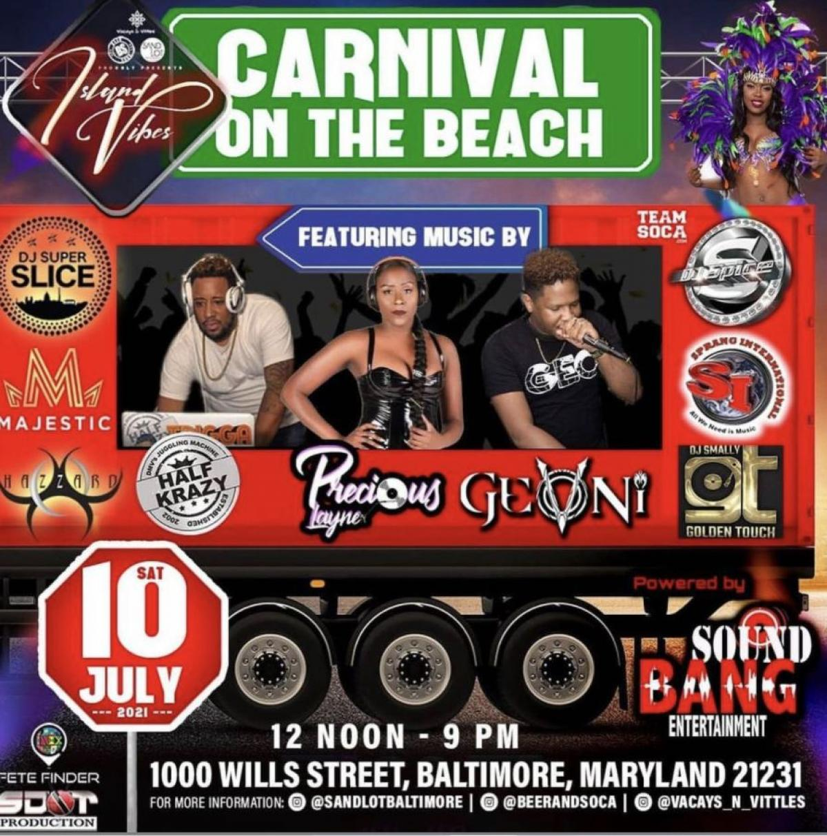 Carnival On The Beach flyer or graphic.