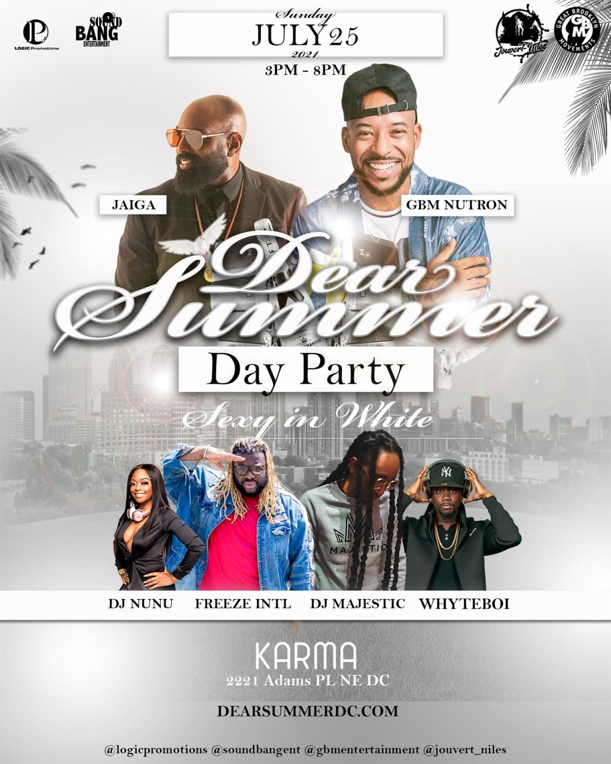 Dear Summer Day Party Sexy in White flyer or graphic.