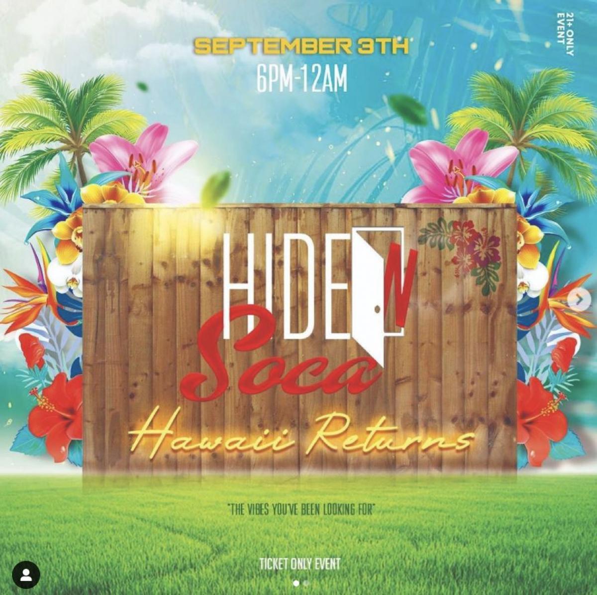 Hide N Soca: Hawaii flyer or graphic.
