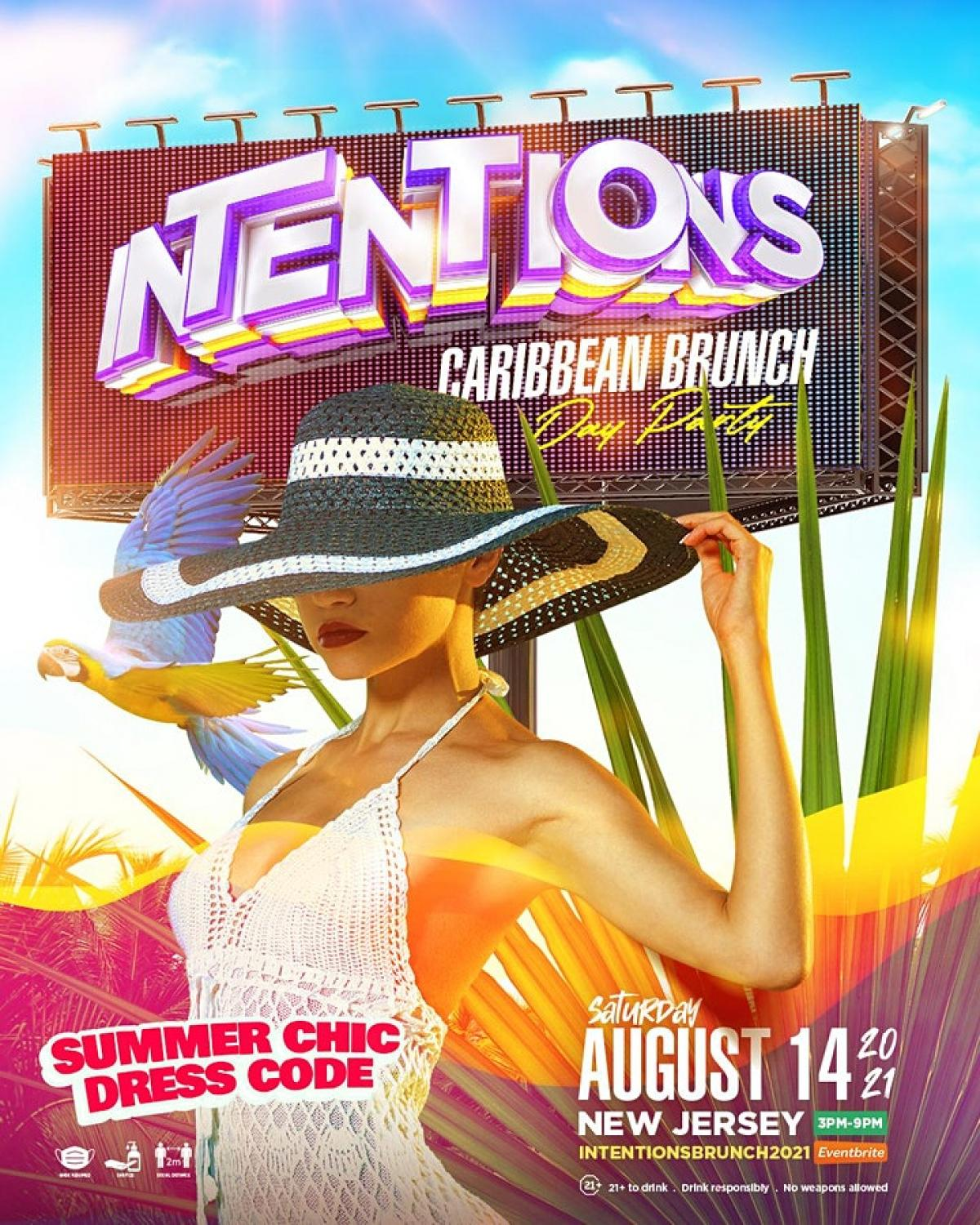 Intentions 2021 - Caribbean Brunch & Day Party flyer or graphic.