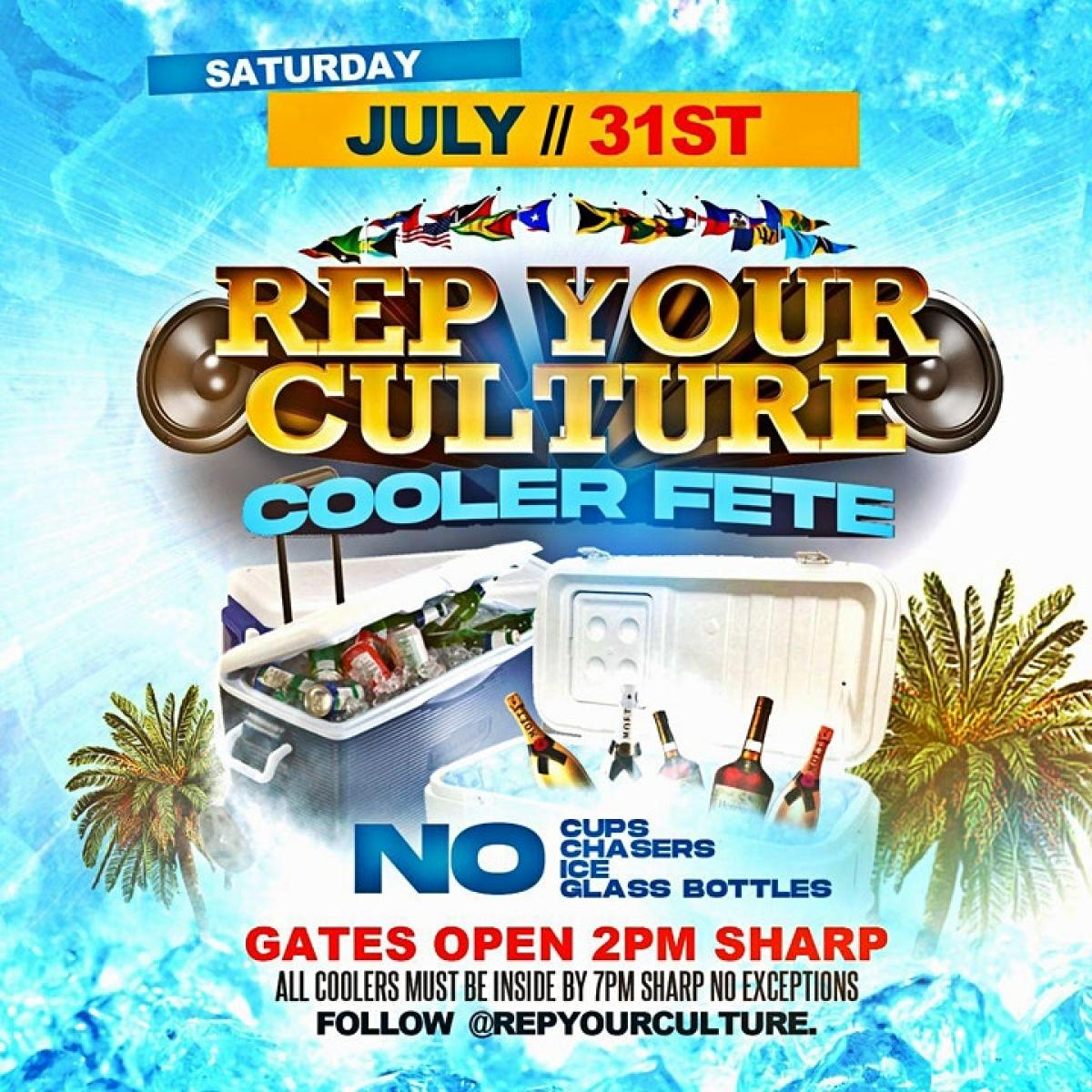 Rep Your Culture Cooler Fete flyer or graphic.