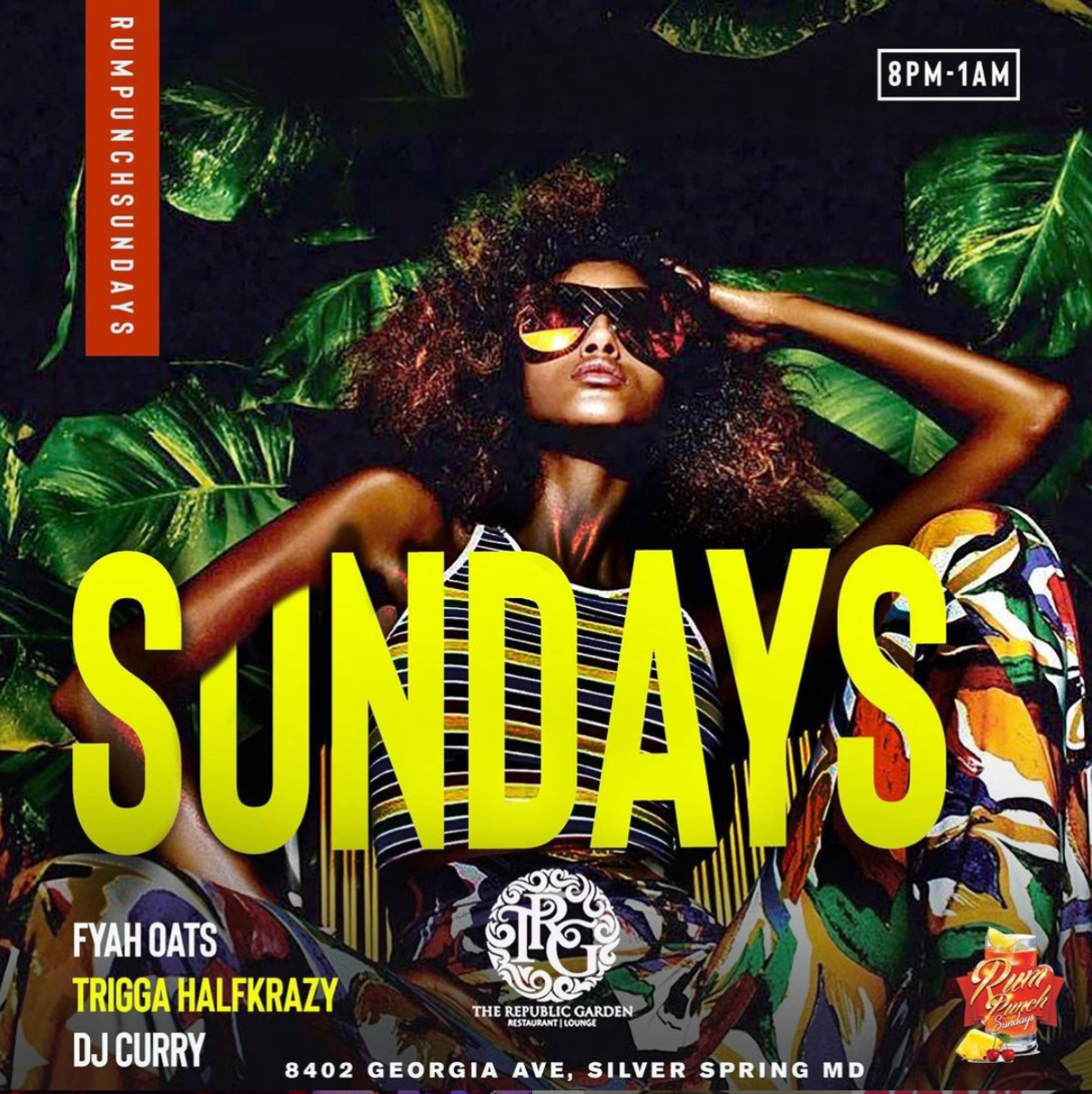 Rum Punch Sundays flyer or graphic.